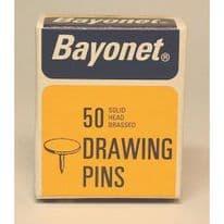 Bayonet 50 Drawing Pins, Solid Head Brassed - 10mm