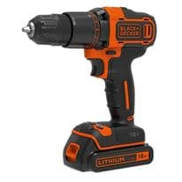 Black & Decker 18V Lithium-ion 2 Gear Hammer Drill - Includes 400mA charger + 1 battery + Kitbox
