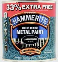 Hammerite Metal Paint Hammered 750ml + 33% Free - Black