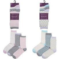 RJM Ladies Cotton Socks - Pack 3