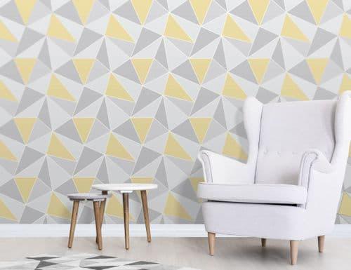 Fine Decor Apex Geo Yellow/Grey FD41991 Wallpaper