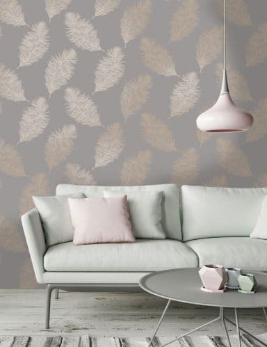 Holden Decor Fawning Feather Grey/Rose Gold 12629 Wallpaper