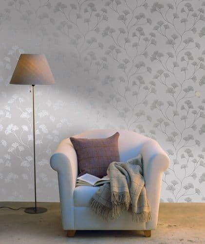 Holden Decor Glistening Ginkgo Grey 12700 Wallpaper