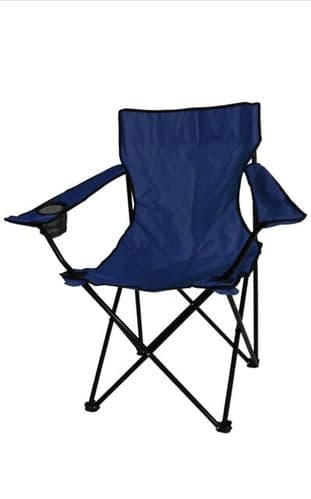 Kingfisher Folding Camping/ Fishing/ Picnic Chair With Cup Holder - Navy/Blue