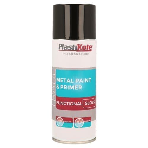 PlastiKote Metal Paint & Primer 400ml Spray - Black Gloss