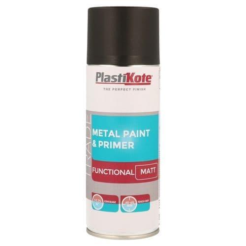 PlastiKote Metal Spray Paint 400ml - Black Matt