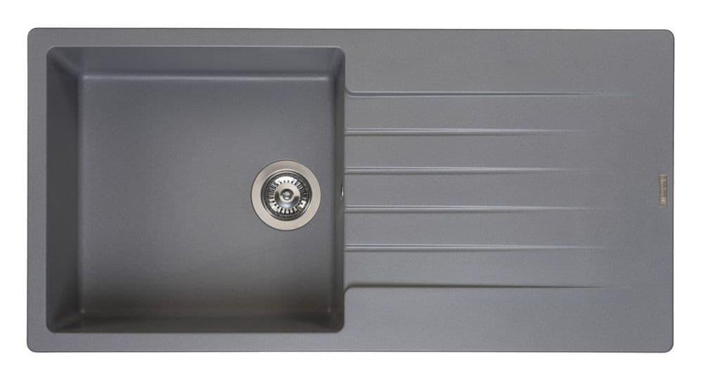 Reginox Harlem Single Bowl Granite Sink - Grey - 100 x 50cm