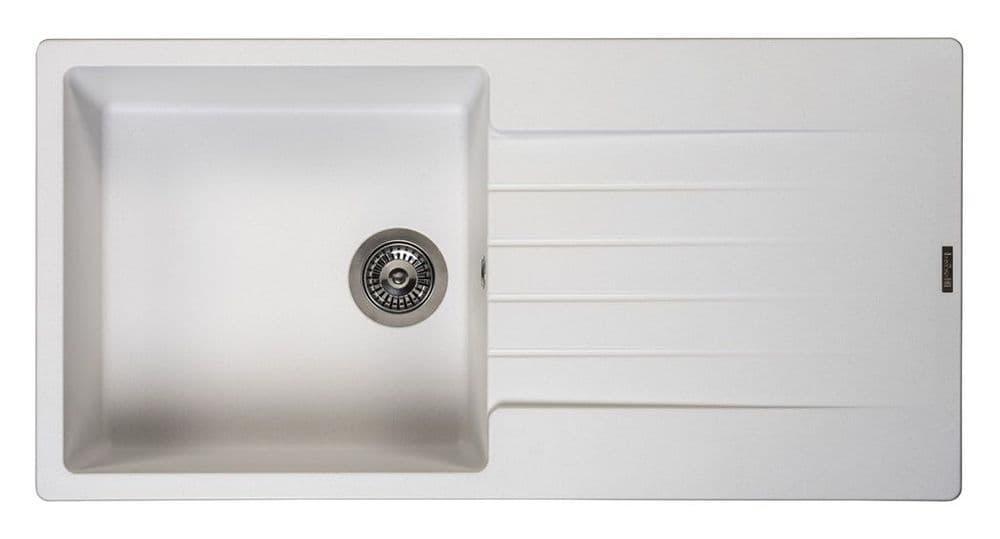 Reginox Harlem Single Bowl Granite Sink - White - 100x50cm