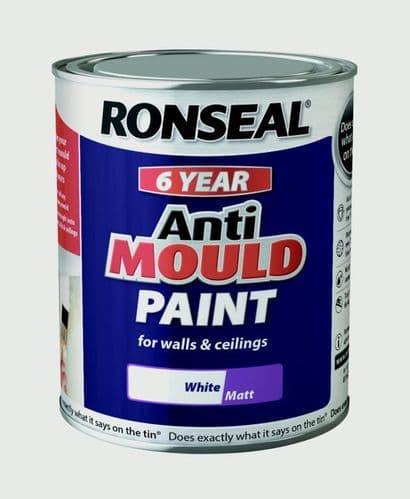 Ronseal 6 Year Anti Mould Paint 750ml - White Matt
