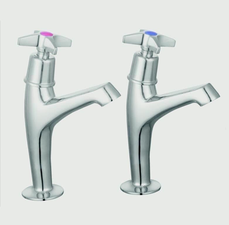 SupaPlumb Cross Head Sink Taps - H: 164mm D: 119mm Diameter: 44mm