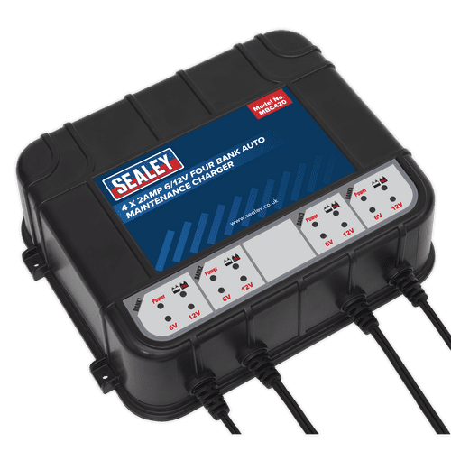 Four Bank 6/12V 8Amp (4 x 2A) Auto Maintenance Charger