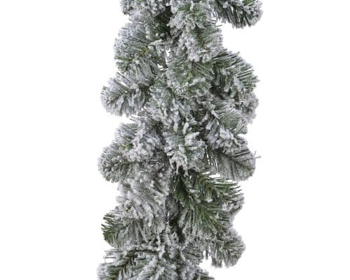 Ambassador Green/White Snowy Imperial Garland - 270 x 25cm