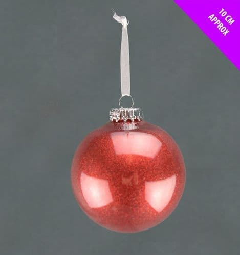 Davies Products Acrylic Glitter Bauble - 10cm Red