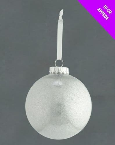 Davies Products Acrylic Glitter Bauble - 10cm Silver