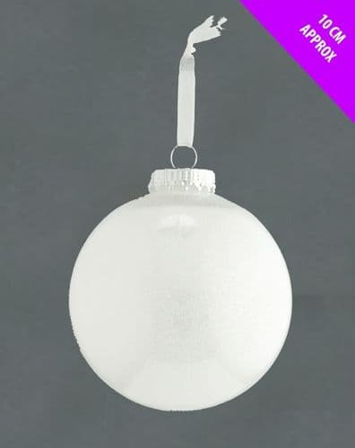 Davies Products Acrylic Glitter Bauble - 10cm White