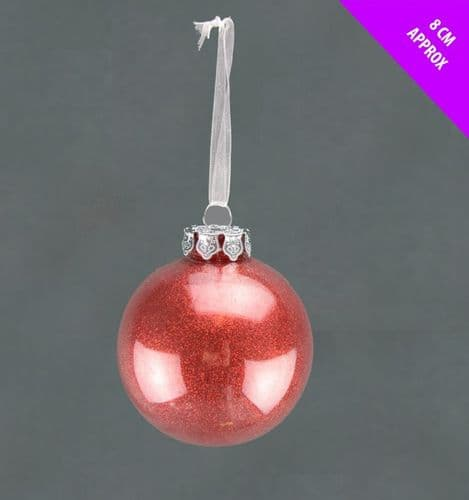 Davies Products Acrylic Glitter Bauble - 8cm Red