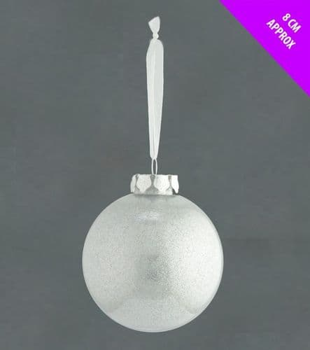 Davies Products Acrylic Glitter Bauble - 8cm Silver