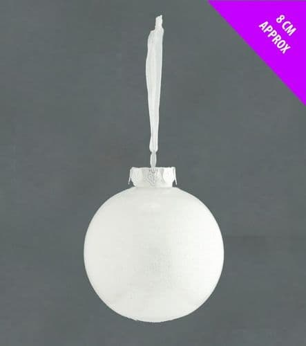 Davies Products Acrylic Glitter Bauble - 8cm White