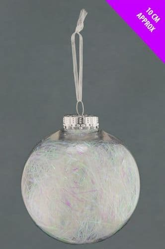 Davies Products Clear Lametta Bauble - 10cm Iridescent