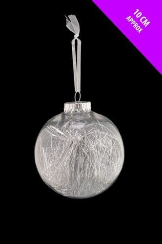 Davies Products Clear Lametta Bauble - 10cm Silver