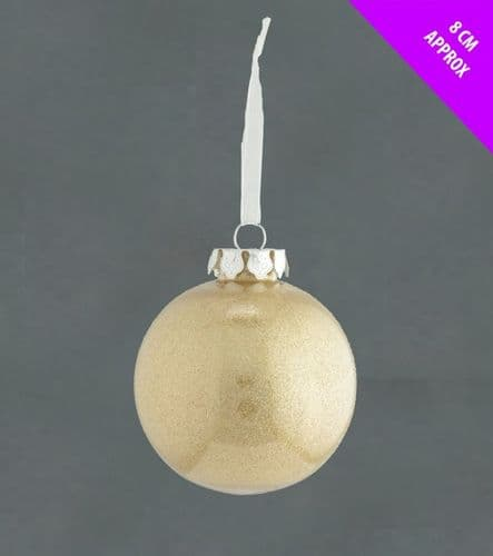 Davies Products Clear Lametta Bauble - 8cm Champagne