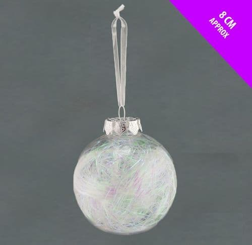 Davies Products Clear Lametta Bauble - 8cm Iridescent