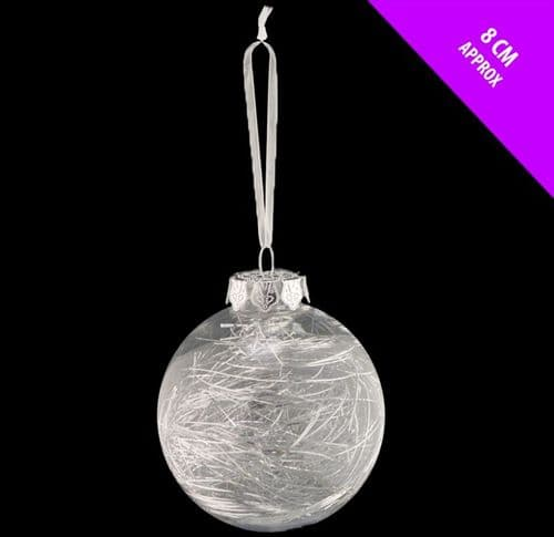 Davies Products Clear Lametta Bauble - 8cm Silver