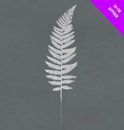 Davies Products Glitter Wire Fern Leaf - 50cm Silver