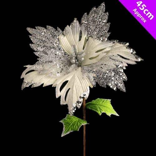 Davies Products Luxury Poinsettia Pick - 45cm Silver/White