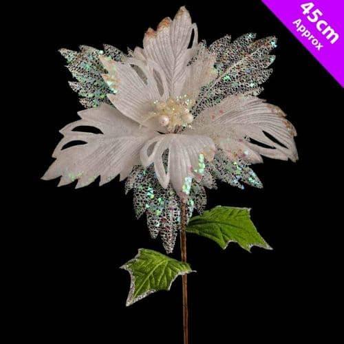 Davies Products Luxury Poinsettia Pick - 45cm White
