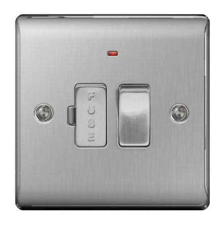 BG Brushed Steel  Switched Fused Connection Unit - 13a