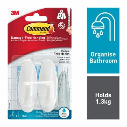 Command™ Bath Hooks - 2 hooks, 4 medium strips
