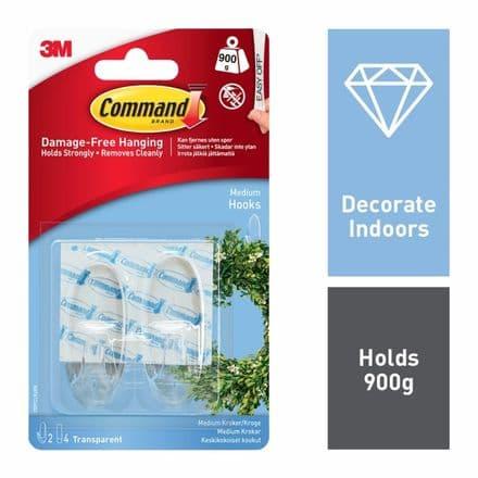Command™ Clear Hooks - Medium 2 hooks, 4 medium strips