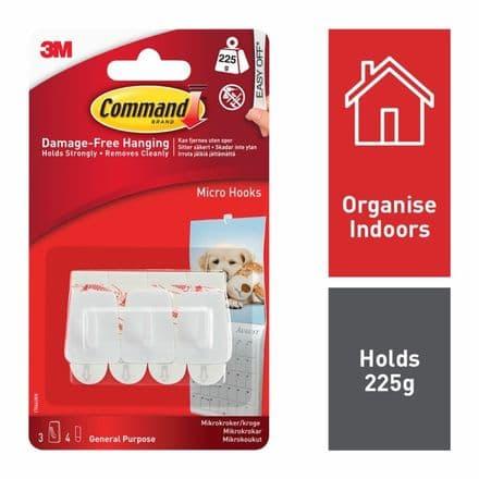 Command™ Micro Hooks - 3 hooks, 4 small strips