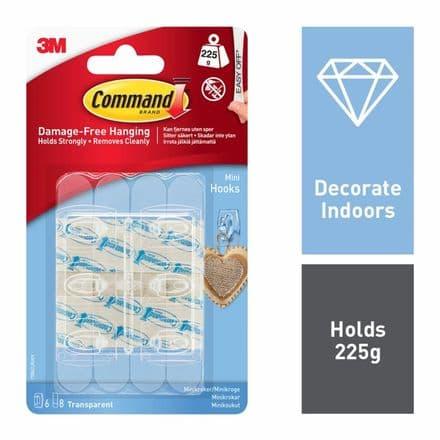 Command™ Mini Hooks Clear - 6 hooks, 8 small strips