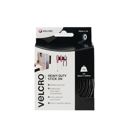 VELCRO® Brand Heavy Duty Stick On Tape - 50mm x 1m Black