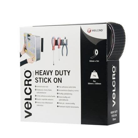 VELCRO® Brand Heavy Duty Stick On Tape - 50mm x 5m Black