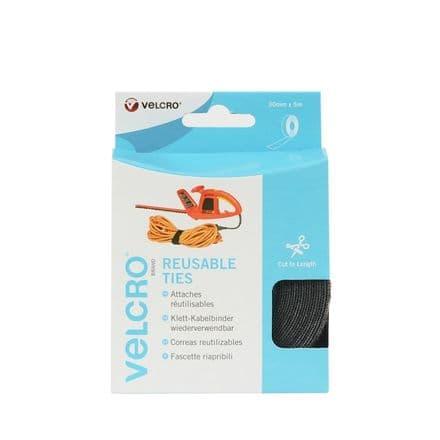 VELCRO® Brand Reuseable Ties- Cut to Length - 30mm x 5m Black