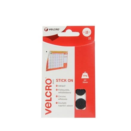 VELCRO® Brand Stick On Coins - 16mm x 16 Sets Black
