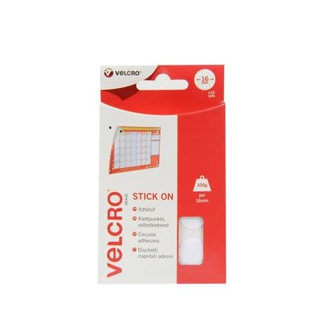 VELCRO® Brand Stick On Coins - 16mm x 16 Sets White
