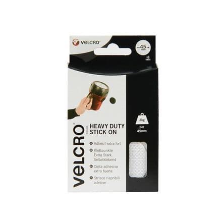 VELCRO® Brand Stick On Giant Coins - 45mm White 6 Pack
