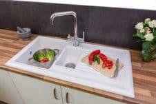 Reginox White Ceramic Reversible Sink - 1.5 Bowl