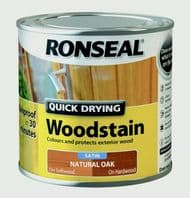 Ronseal Quick Drying Woodstain Satin 250ml - Natural Oak