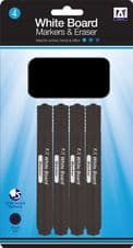 A Star Whiteboard Markers With Eraser - Pack 4