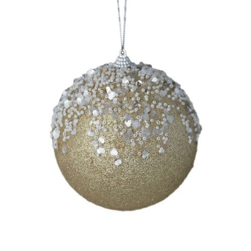 Davies Products 12cm Bead Frost Bauble - Champagne