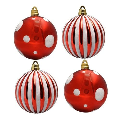 Davies Products 4 Decorated Baubles - 15cm Red/White