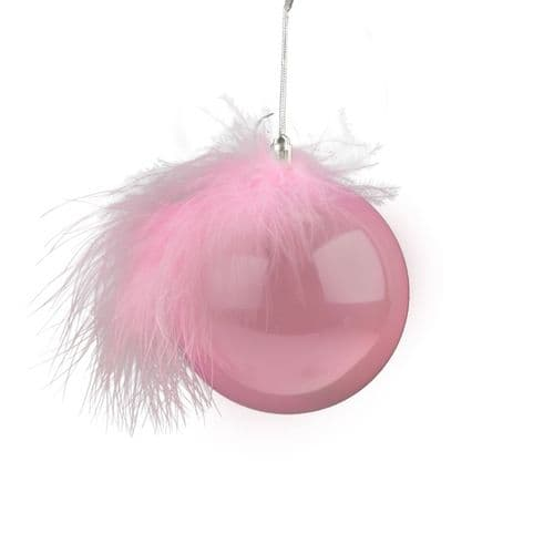 Davies Products Bauble & Feather - 8cm Pink Pearl