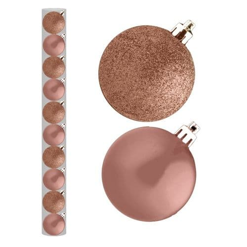 Davies Products Baubles Pack 10 - 6cm Rose Gold
