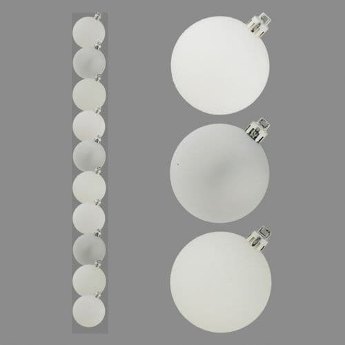 Davies Products Baubles Pack 10 - 6cm White