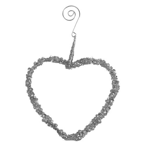 Davies Products Beaded Heart Hanger - 12cm Silver